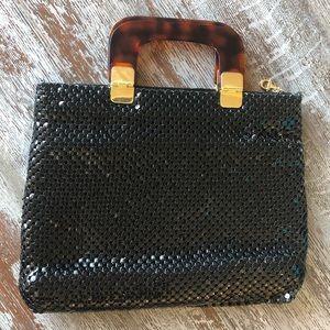 Handbags - Black Metal Chainmail Purse Tortoise Shell Handles